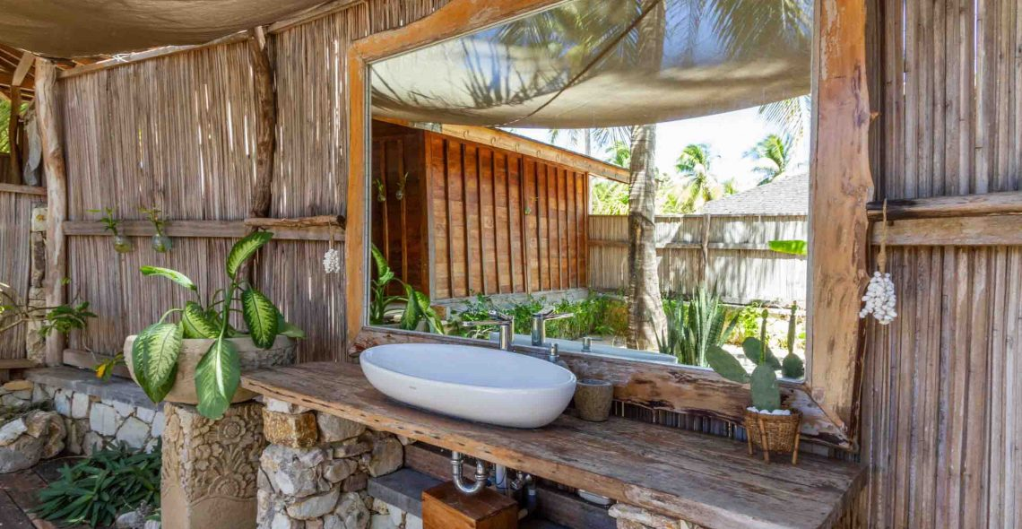 Beachfront bungalow bathroom