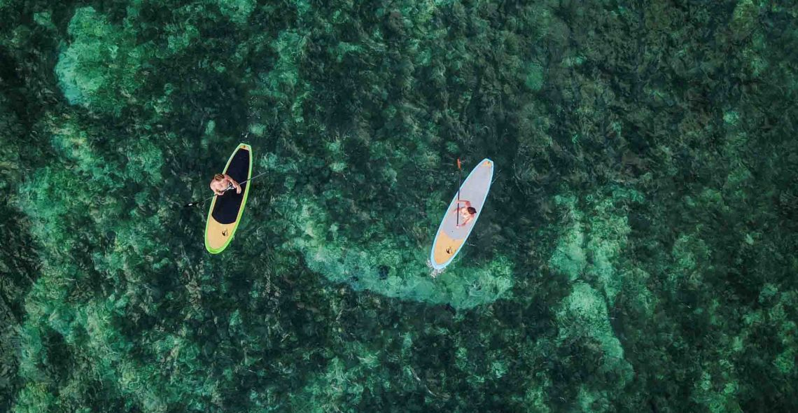 Drone paddle rote Island