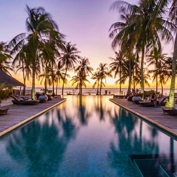 Sunset by the pool rote island